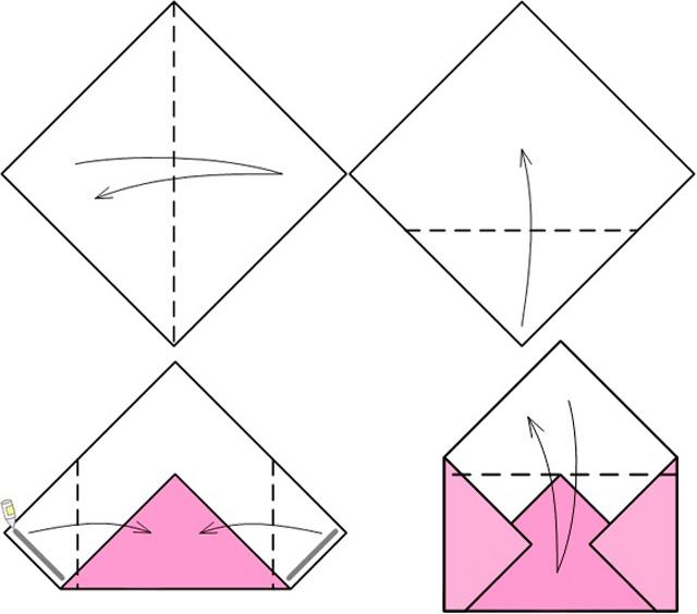 женским оригами открытка распечатать внимание