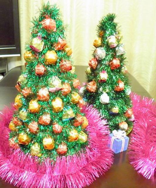 Новогодняя елка своими руками из мишуры и