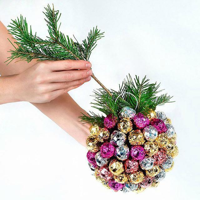 Новогодний шар с конфетами своими руками