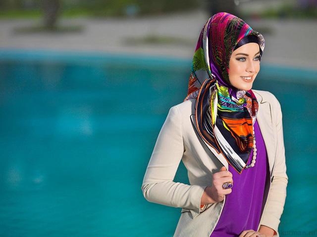 как носить большой платок на голове