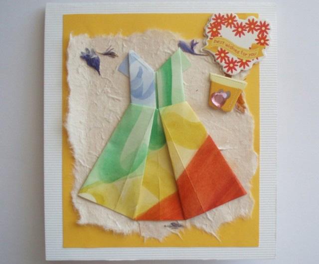 открытка с платьями на День Рождения