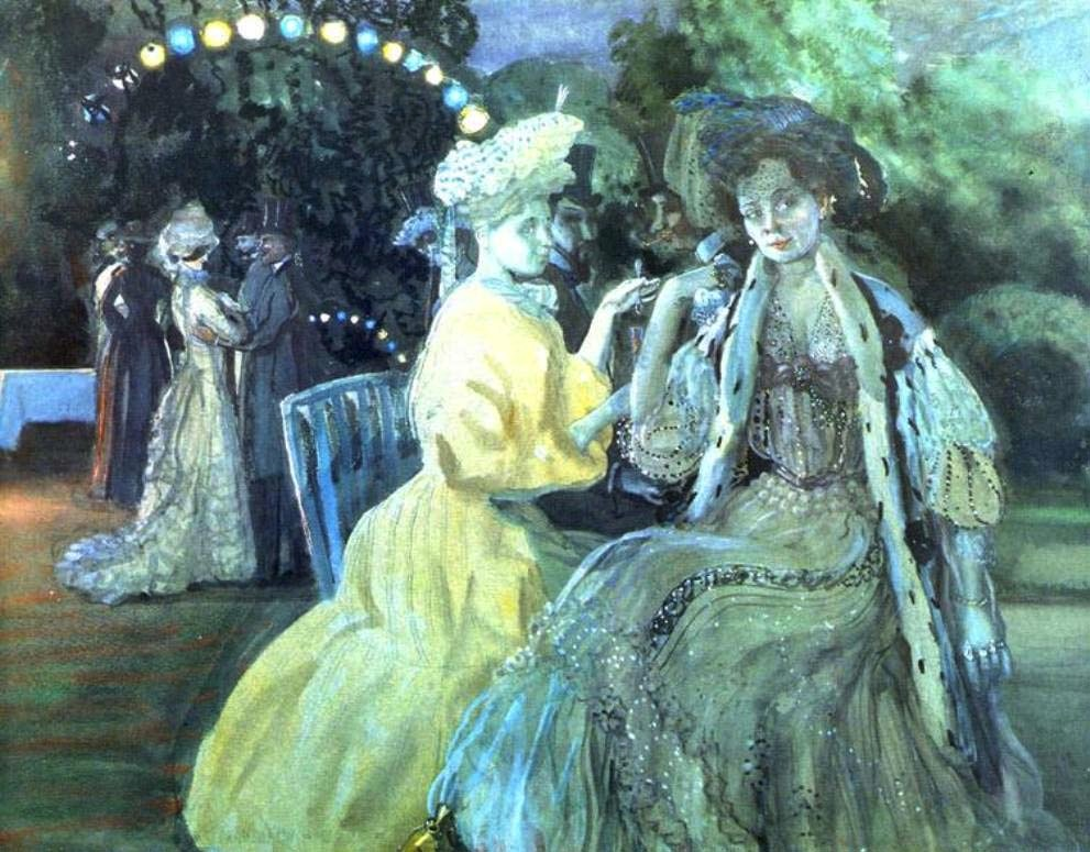 somov - Courtesans. 1903. Watercolor, gouache, and pastel on paper. Tretyakov Gallery, Moscow, Russia