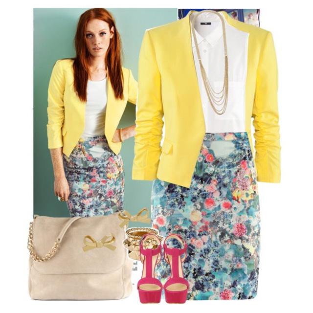Пиджак с цветной юбкой