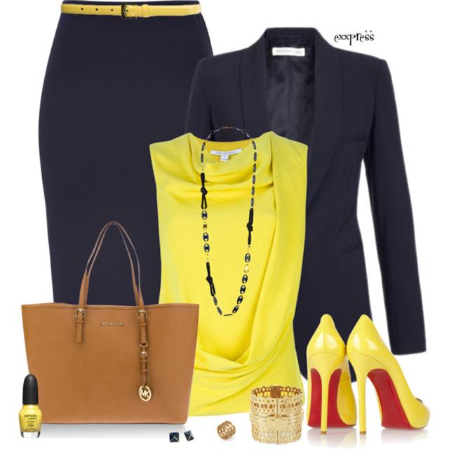 С чем сочетается желтый цвет в одежде 7