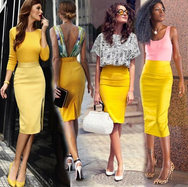 С чем сочетается желтый цвет в одежде 8