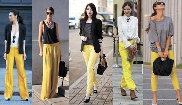 С чем сочетается желтый цвет в одежде 9